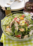 Salad with chicken, lemon and yogurt dressing. Is nourishing, tasty, easy to prepare. Can be the solutions when you are on a diet Stock Photo