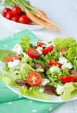 Salad with chicken liver. cherry tomatoes and feta cheese.  Royalty Free Stock Images