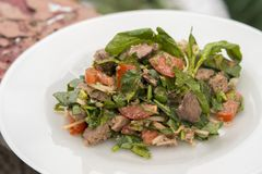 Salad with chicken liver. Delicious hot salad in the open air Stock Photography