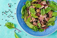 Salad of chicken liver and leaves of spinach and chard. Flat lay. Top view Stock Images