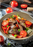 Salad with chicken livers snd vegetables Royalty Free Stock Photo