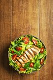 Salad with chicken meat royalty free stock photo