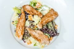 Salad with chicken meat cream sauce. On a white background stock photos