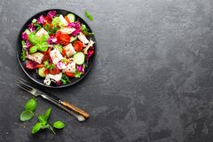 Salad with chicken meat. Fresh vegetable salad with chicken breast. Meat salad with chicken fillet and fresh vegetables. On plate Stock Images