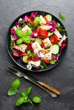 Salad with chicken meat. Fresh vegetable salad with chicken breast. Meat salad with chicken fillet and fresh vegetables. On plate Royalty Free Stock Photos