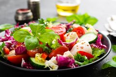 Salad with chicken meat. Fresh vegetable salad with chicken breast. Meat salad with chicken fillet and fresh vegetables. On plate Stock Photo