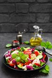 Salad with chicken meat. Fresh vegetable salad with chicken breast. Meat salad with chicken fillet and fresh vegetables. On plate Royalty Free Stock Images