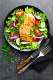Salad with chicken meat. Fresh vegetable salad with chicken breast. Meat salad with chicken fillet and fresh vegetables royalty free stock photo