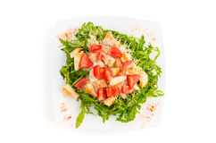 Salad with chicken meat, tomato and rucola isolated on white Royalty Free Stock Photos