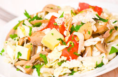 Salad with chicken, mushrooms, cheese and vegetables Stock Photo