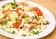 Salad with chicken, mushrooms, cheese and vegetables Stock Photography