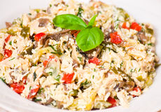 Salad with chicken, mushrooms, eggs, cheese, vegetables Royalty Free Stock Photos