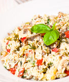 Salad with chicken, mushrooms, eggs, cheese, vegetables Stock Photos