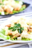 Salad with chicken and pear stock images