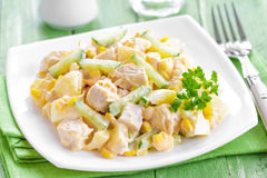 Salad with chicken and pineapple Royalty Free Stock Photography