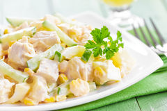 Salad with chicken and pineapple Stock Photos