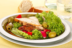 Salad with chicken's breast Royalty Free Stock Image