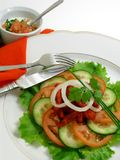 Salad of chicken with tandoori spices 4. Salad of chicken with tandoori spices and yogurt sauce stock images