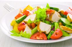 Salad with chicken and vegetables Royalty Free Stock Image
