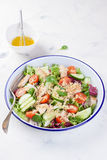 Salad with chicken, vegetables, bulgur and olive oil Royalty Free Stock Images