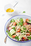 Salad with chicken, vegetables, bulgur and olive oil Stock Photography