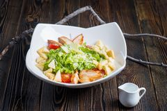Salad with chicken and vegetables royalty free stock photography