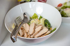 Salad with Chicken in the white bowl stock photos