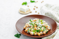 Salad with chickpeas, feta and parsley Royalty Free Stock Images