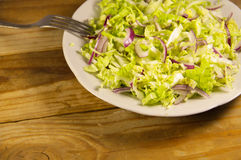 Salad with chinese cabbage and onion on wooden table Royalty Free Stock Photos