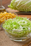 Salad from Chinese cabbage and sweet corn Stock Images