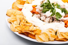 Salad with chips Royalty Free Stock Photo