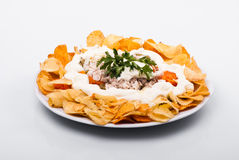Salad with chips Stock Image