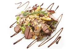 Salad with chocolate. Tasty  salad with drop  chocolate Stock Photo