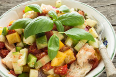 Salad with ciabatta bread and basil Royalty Free Stock Photos