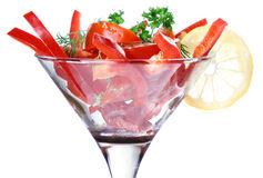 Salad cocktail in goblet Royalty Free Stock Photo