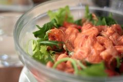 Salad cocktail. With rocket salad and shrimps Royalty Free Stock Photos