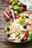 Salad with cold pasta, basil and mozzarella Stock Photography