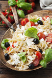 Salad with cold pasta, basil and mozzarella Royalty Free Stock Photography