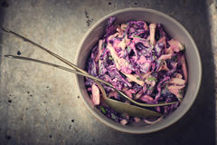 Salad Cole slaw. From a red cabbage. American cuisine. style vintage. selective focus. the image is tinted Stock Photography