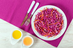 Free Salad Coleslaw - Red Cabbage With Carrots On White Dish Royalty Free Stock Image - 75839536