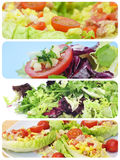 Salad collage. A collage of different plates of salads royalty free stock photography
