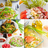 Salad collage composition nested on frame Royalty Free Stock Images