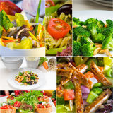 Salad collage composition nested on frame Stock Photos