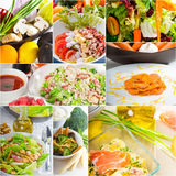 Salad collage composition nested on frame Royalty Free Stock Image