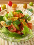 Salad with colored tomatoes. On table royalty free stock images