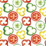 Salad colorful vegetable slices: tomatoes, peppers, cucumbers. Salad colorful vegetable slices, seamless pattern design on white background, hand painted Stock Photography