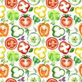 Salad colorful vegetable slices: tomatoes, peppers, cucumbers. Salad colorful vegetable slices, seamless pattern design on white background, hand painted Royalty Free Stock Photos