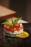 Salad in colors of Italy flag closeup Royalty Free Stock Images