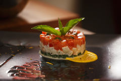 Salad in colors of Italy flag on table Royalty Free Stock Images