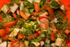 Salad consists of tomatoes, parsley Royalty Free Stock Photos